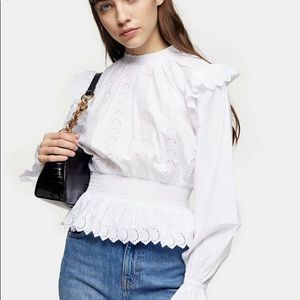 TOPSHOP White Shirred Embroidered Shirt SIZE 10